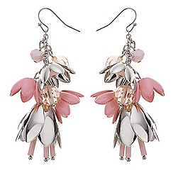 Red Herring - Pink flower charm drop earring