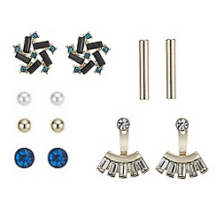Red Herring - Teal crystal mixed shape earring pack
