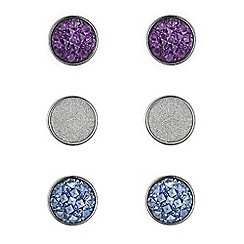 Red Herring - Silver crystal and glitter circle earring pack