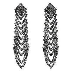 Red Herring - Black diamante looped chevron drop earring