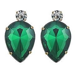 Red Herring - Green crystal teardrop stud earring
