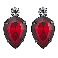 Red Herring - Red crystal teardrop stud earring