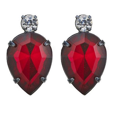 Red Herring - Red crystal teardrop stud earring