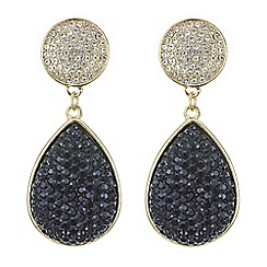 Red Herring - Jet druzy double droplet crystal earring