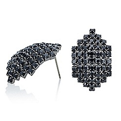 Red Herring - Black crystal diamante curved stud earring