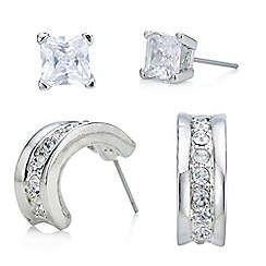 Red Herring - Silver square crystal studs and hoop earring set