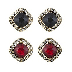 Red Herring - Gold crystal square earring set
