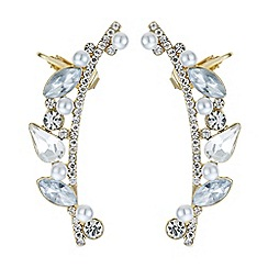 Red Herring - Pearl and crystal ear cuff set