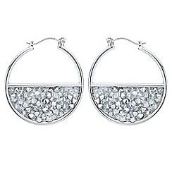 Red Herring - Silver half circle crystal cluster hoop earring