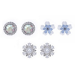 Red Herring - Multi tone floral stud earring set