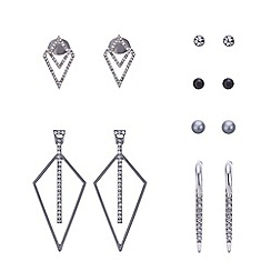 Red Herring - Silver triangle multi earring set