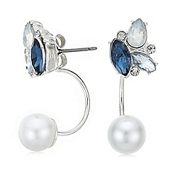 Red Herring - Blue crystal and pearl droplet earring