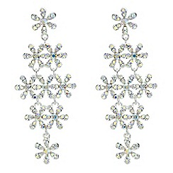 Red Herring - Silver crystal floral chandelier earring