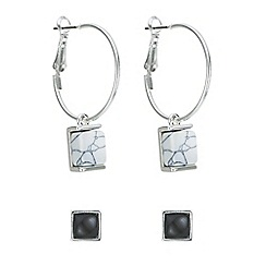 Red Herring - Monochrome square earring set
