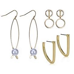 Red Herring - Gold pearl and hoop drop earring set