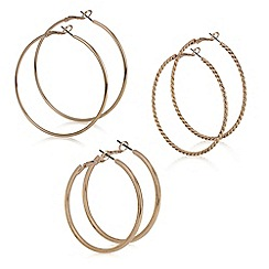 Red Herring - Rose gold hoop earring set
