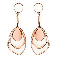 Red Herring - Rose gold enamel layered drop earring