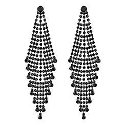 Red Herring - Jet diamante statement earrings