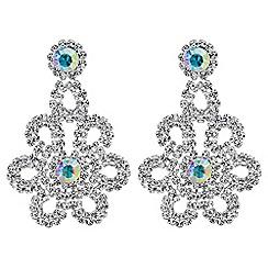 Red Herring - Aurora borealis crystal flower earrings