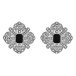 Red Herring - Jet crystal ornate stud earrings