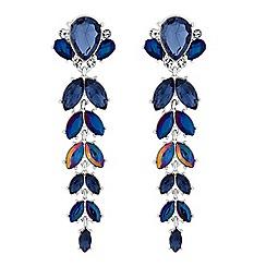Red Herring - Blue crystal cluster drop earrings