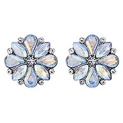 Red Herring - Aurora borealis crystal flower earrings