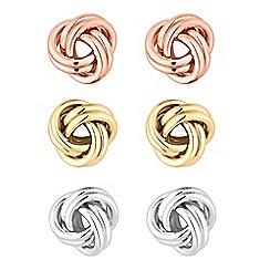 Red Herring - Multi tone knot stud earrings set