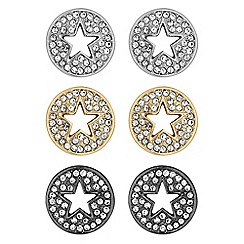Red Herring - Multi tone circle star earrings set