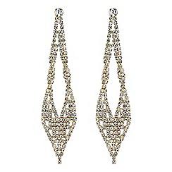Red Herring - Gold diamante twist drop earrings