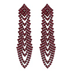Red Herring - Red diamante drop earrings