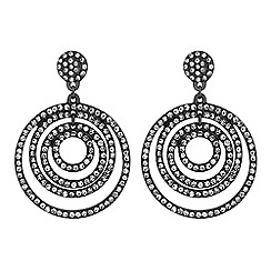 Red Herring - Crystal layered circle earrings