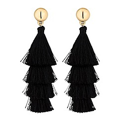 Red Herring - Layered tassel drop earrings
