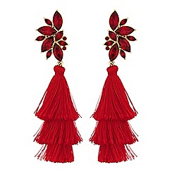 Red Herring - Statement crystal fringed earrings
