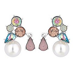 Red Herring - Crystal and pearl cluster earrings