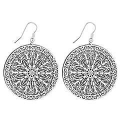 Red Herring - Glitter filigree disc earrings