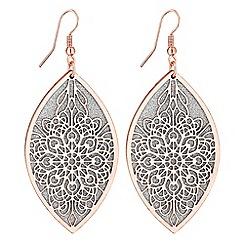 Red Herring - Glitter filigree leaf earrings