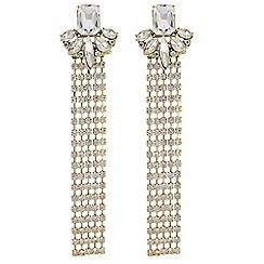 Red Herring - Diamante statement drop earrings