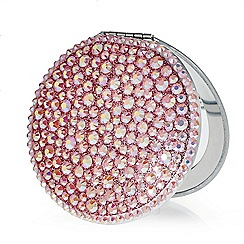 Red Herring - Pink crystal embellished compact mirror