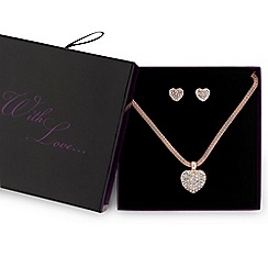 Red Herring - Rose gold pave heart jewellery set