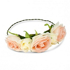 Red Herring - Web exclusive pink rose hair garland