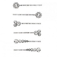 Red Herring - Set of six diamante crystal hair slides