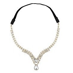 Red Herring - Diamante crystal gold teardrop hair chain