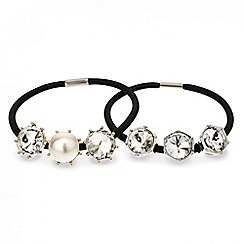 Red Herring - Set of two crystal and pearl hair bands