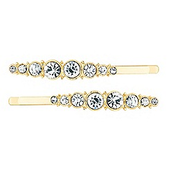 Red Herring - Set of two crystal embellished hair slides