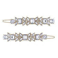 Red Herring - Gold contemporary crystal barettes