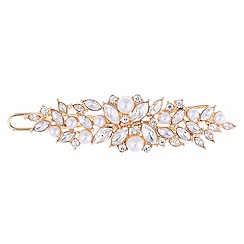 Red Herring - Crystal navette and pearl hair slide