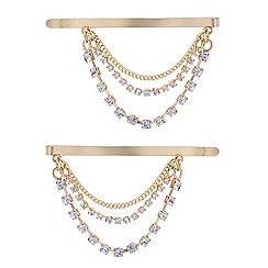 Red Herring - Set of two diamante chain hair slides