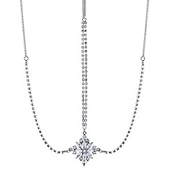 Red Herring - Diamante crystal flower silver hair tikka