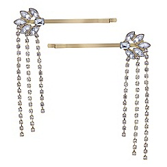 Red Herring - Diamante fringe hair slides