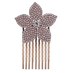 Red Herring - Rose gold crystal flower hair comb